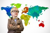 Cute pupil dressed up as teacher against white background with world map