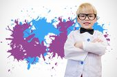 Cute pupil dressed up as teacher against white background with paint splashes
