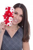 Isolated Smiling Pretty Woman Holding A Gift Box With Red Hearts In Her Hands.