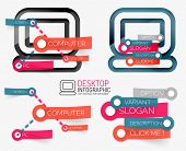 Vector desktop pc infographics and keyword cloud and banners