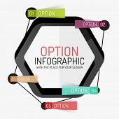 Black hexagon diagram, stickers connected with line. Option infographic design layout, minimal line