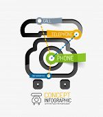 Telephone infographic keywords, line style. Modern flat paper design with tags or your options on transparent stickers