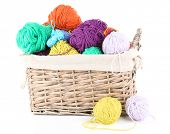 Multicoloured knitting yarn in basket isolated on white