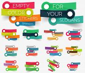 Vector collection of paper sticker banners - empty sticky line compositions set for your keywords and slogans