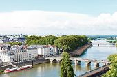 Monge Quai And Bridges In In Angers City, France