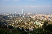 View Of Santiago's Skyline From Cerro San Cristobal, Chile