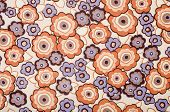 Retro floral pattern. Purple and brown flowers print as background.