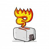 cartoon toaster on fire