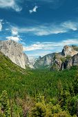 Yosemite Valley with mountains and waterfalls in day