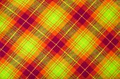 Neon green with orange and red plaid print as background.