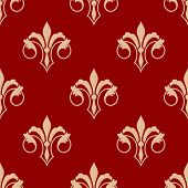 Seamless floral fleur de lis pattern