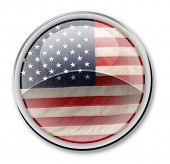 U.S.A. flag button isolated on white