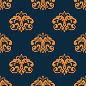 Floral orange seamless pattern