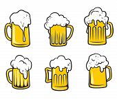 stock photo of drawing beer  - Glass pint tankards set of golden frothy beer isolated over white background - JPG
