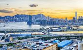 Hong Kong City Sunset in Kwun tong district