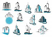 Office, telecommunication and residential builidings symbols