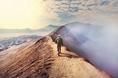 stock photo of bromo  - Hike in Bromo volcano - JPG