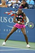 Nine times Grand Slam champion Venus Williams during first round doubles match at US Open 2013