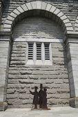 Statues of John Roebling, his son and Washington's wife Emily near Brooklyn Bridge