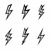 vector lightning silhouettes on white background
