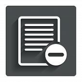 Text file sign icon. Delete File document symbol
