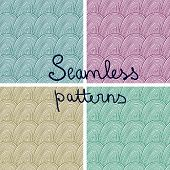 Vector Doodle Seamless Patterns With Waves