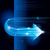 Abstract technology background with arrow shape. Raster.