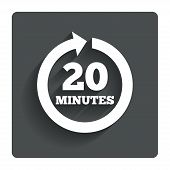 Every 20 minutes sign icon. Full rotation arrow.