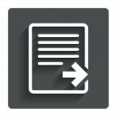 Export file icon. File document symbol.