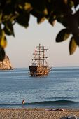 image of cleopatra  - Alanya - the pirate ship at the beach of Cleopatra