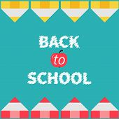 Yellow and red pencil frame. Back to school card. Flat design.