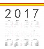Simple Spainish 2017 Year Vector Calendar