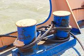 foto of bollard  - mooring bollard with wire ropes - JPG