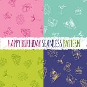 Birthday Seamless Pattern With Hand Drawing Elements