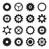 Set of cogwheels, pinions and gears