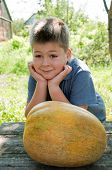 Boy With A Big Melon In His Hand, Harvest