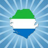 Sierra Leone map flag on blue sunburst illustration