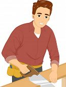 Illustration of a Man Cutting a Piece of Wood with a Hand Saw