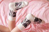 Children's Feet In Wool Socks