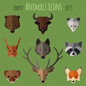 picture of ermine  - Forest animals icons with flat design - JPG