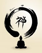 Zen Circle And Buddha Illustration
