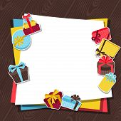 Celebration background or card with sticker gift boxes.