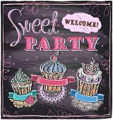 Sweet party chalkboard design. Eps10