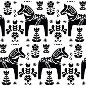 Swedish folk art Dala or Daleclarian horse seamless pattern in black