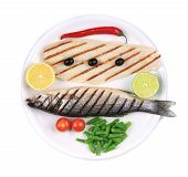 picture of pangasius  - Grilled seabass with pangasius fillet - JPG