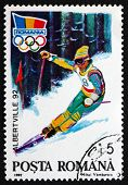 Postage Stamp Romania 1992 Alpine Skiing