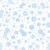 picture of informatics  - vector blue molecules testile texture seamless pattern background - JPG