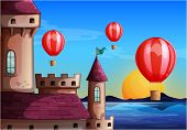 Illustration of the floating balloons near the castle