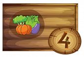 Illustration of a wooden frame with four vegetables on a white background