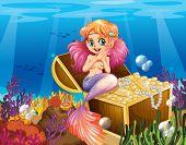 Illustration of a mermaid under the sea beside the treasures